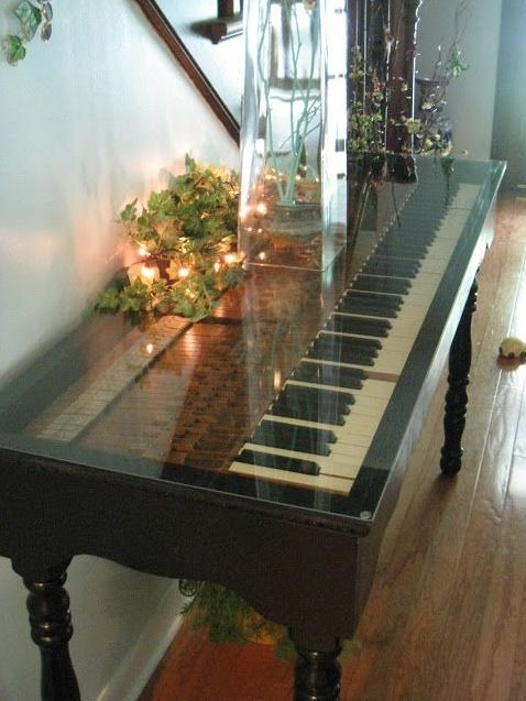 Hand Crafted Repurposed Piano Key Sofa Table By PIANOBOX