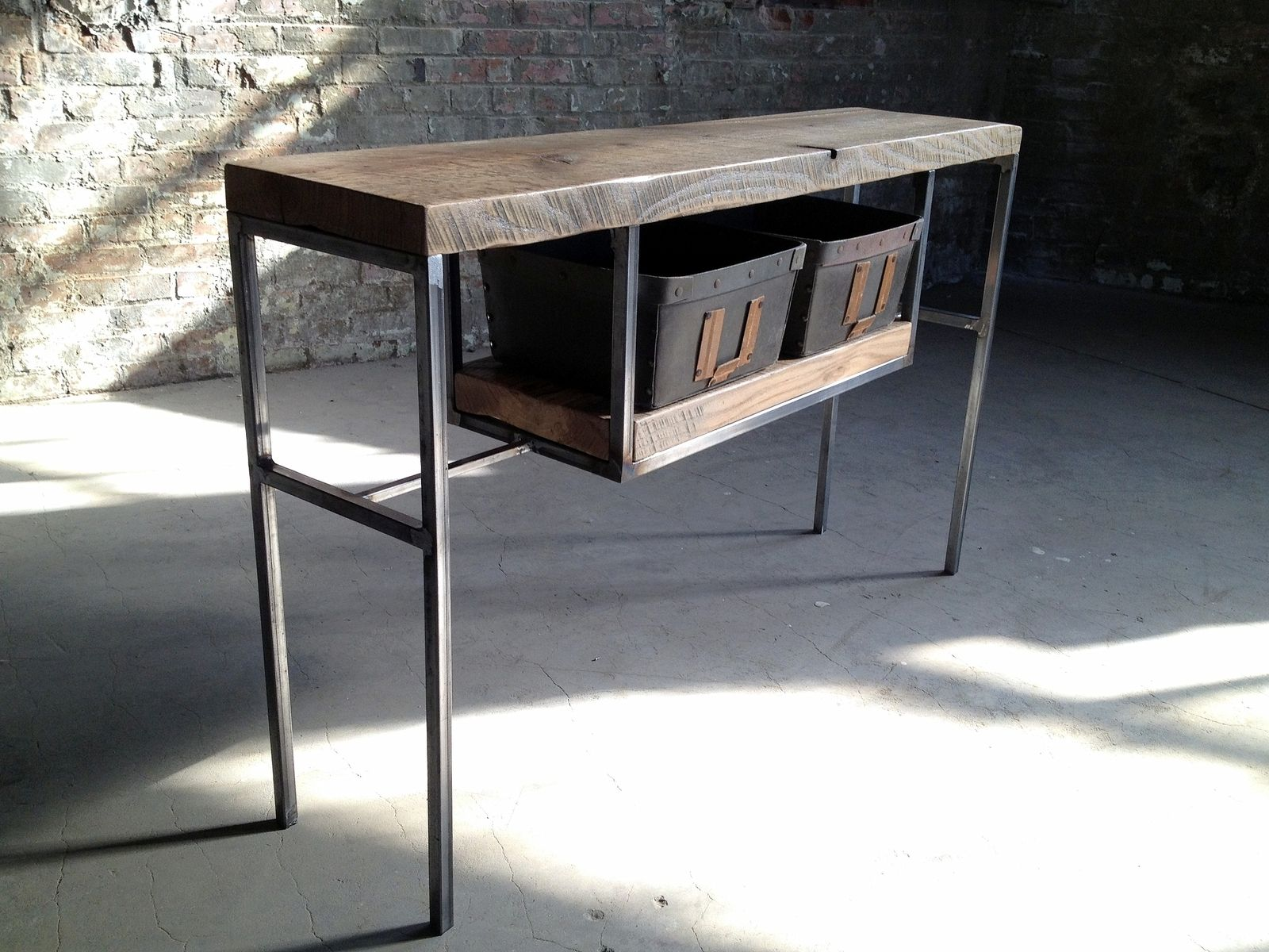 Entry Table/ Sofa Table/ Console Table Made Of Reclaimed Wood And Steel With Salvaged Bins