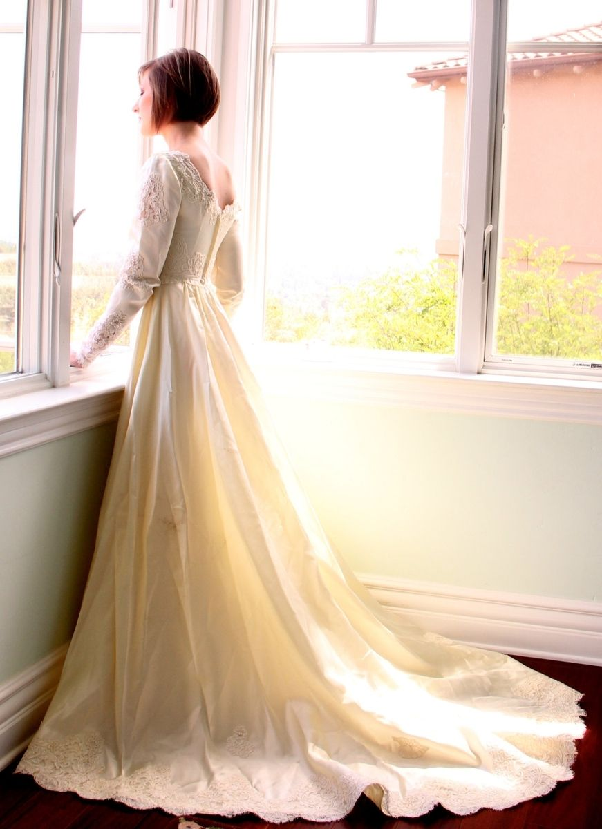 Long sleeve modern wedding dress