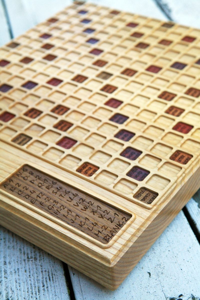 Handmade Scrabble BoardAsh By Bit amp Beam CustomMadecom