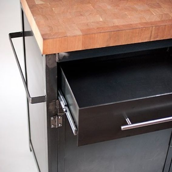Hand Crafted Small Rustic Industrial Kitchen Island