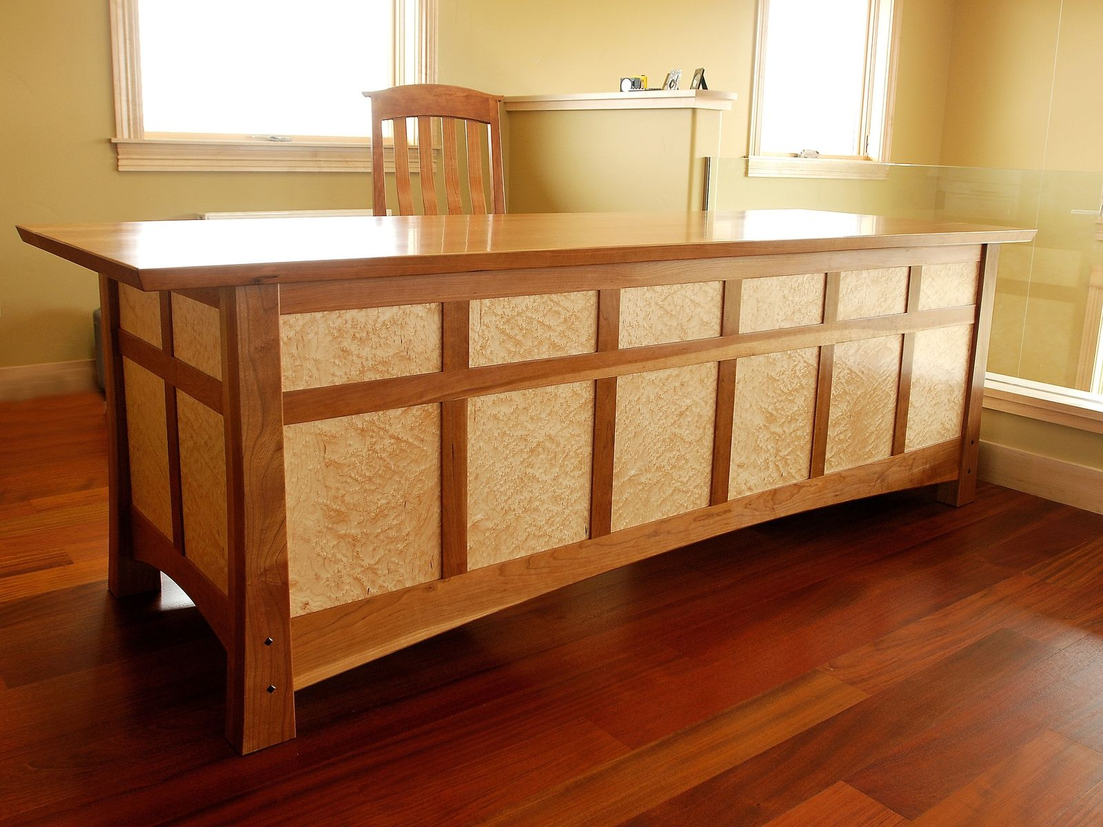 Buy A Handmade Desk In Cherry And Birds Eye Maple Made To
