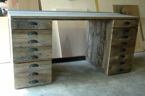 Custom Made Reclaimed Oak Wood Desk
