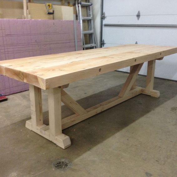 Custom rustic table and bench by mad custom wood working for 4x4 dining table