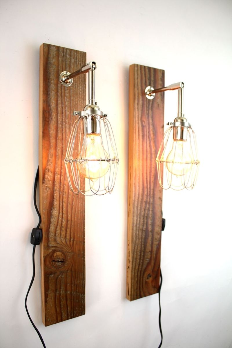 Wall Lamps Wooden : Hand Made Mesic Wall Sconce // Reclaimed Wood Lamp // Industrial Cage Light by MFEO ...