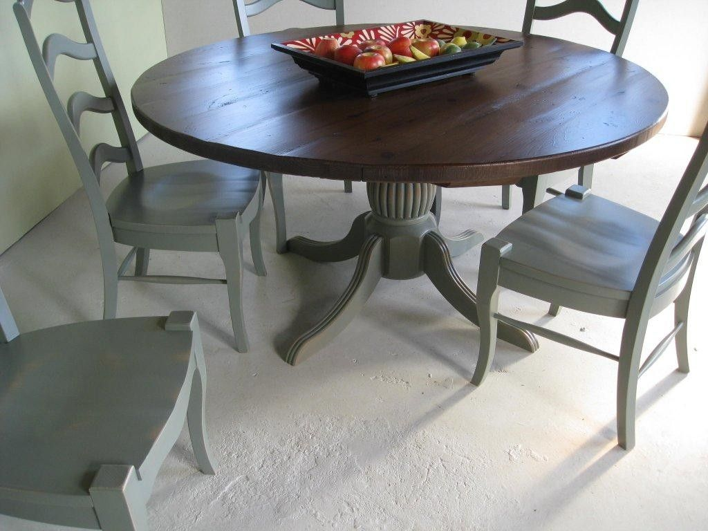 Custom Round Farm Table With Pedestal Base And Matching