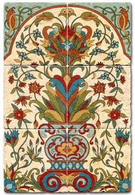 Custom bella flora tile mural by murals by monti for Custom mural tiles