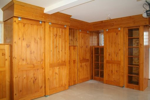 Hand Made Knotty Pine Garage Cabinets by Two Rivers Woodworking | CustomMade.com
