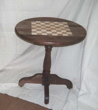 Custom Made Walnut Inlay Chess Table