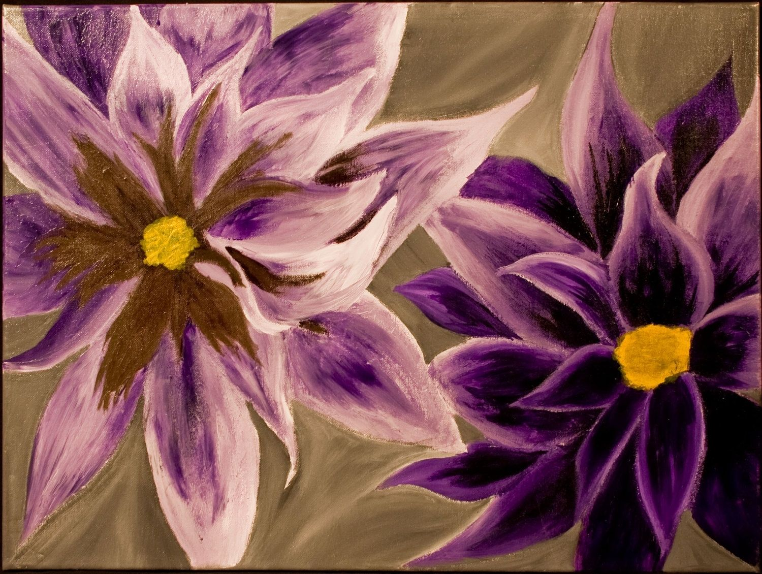 Handmade purple flowers 16x22in acrylic on canvas for Painting large flowers in acrylic