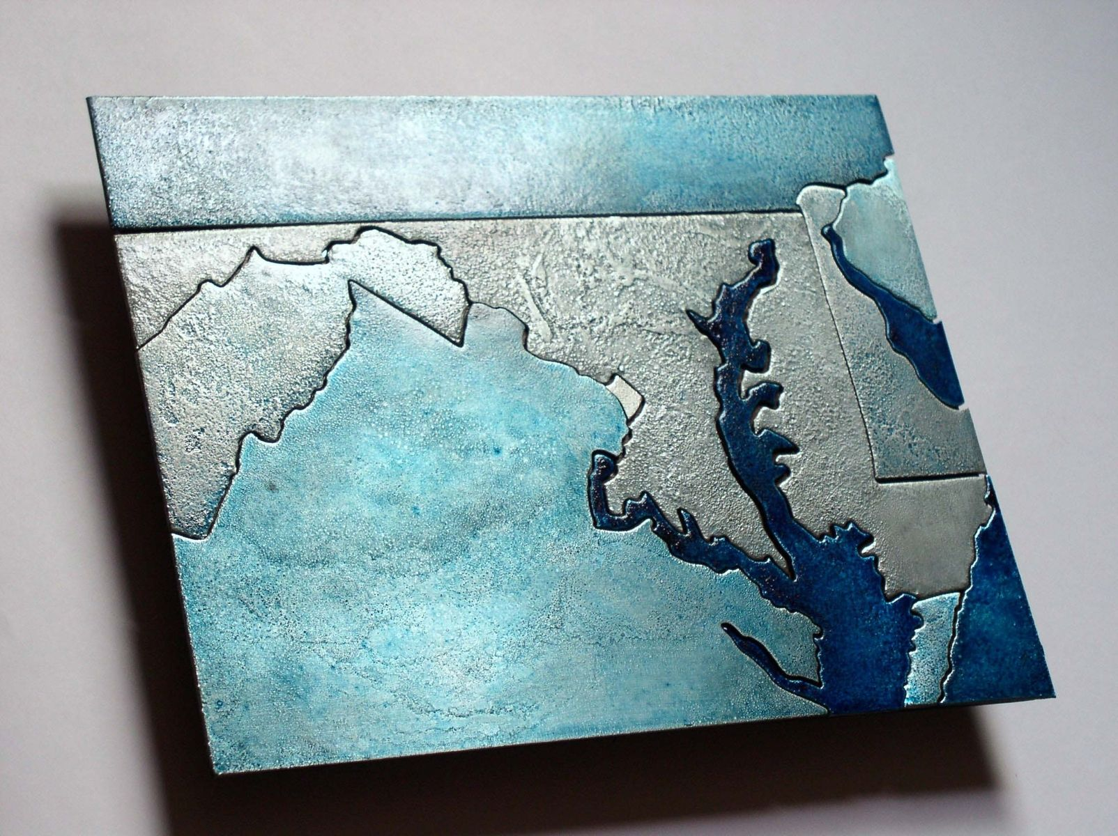 Hand Crafted Maryland Washington D C Metal Art Map By