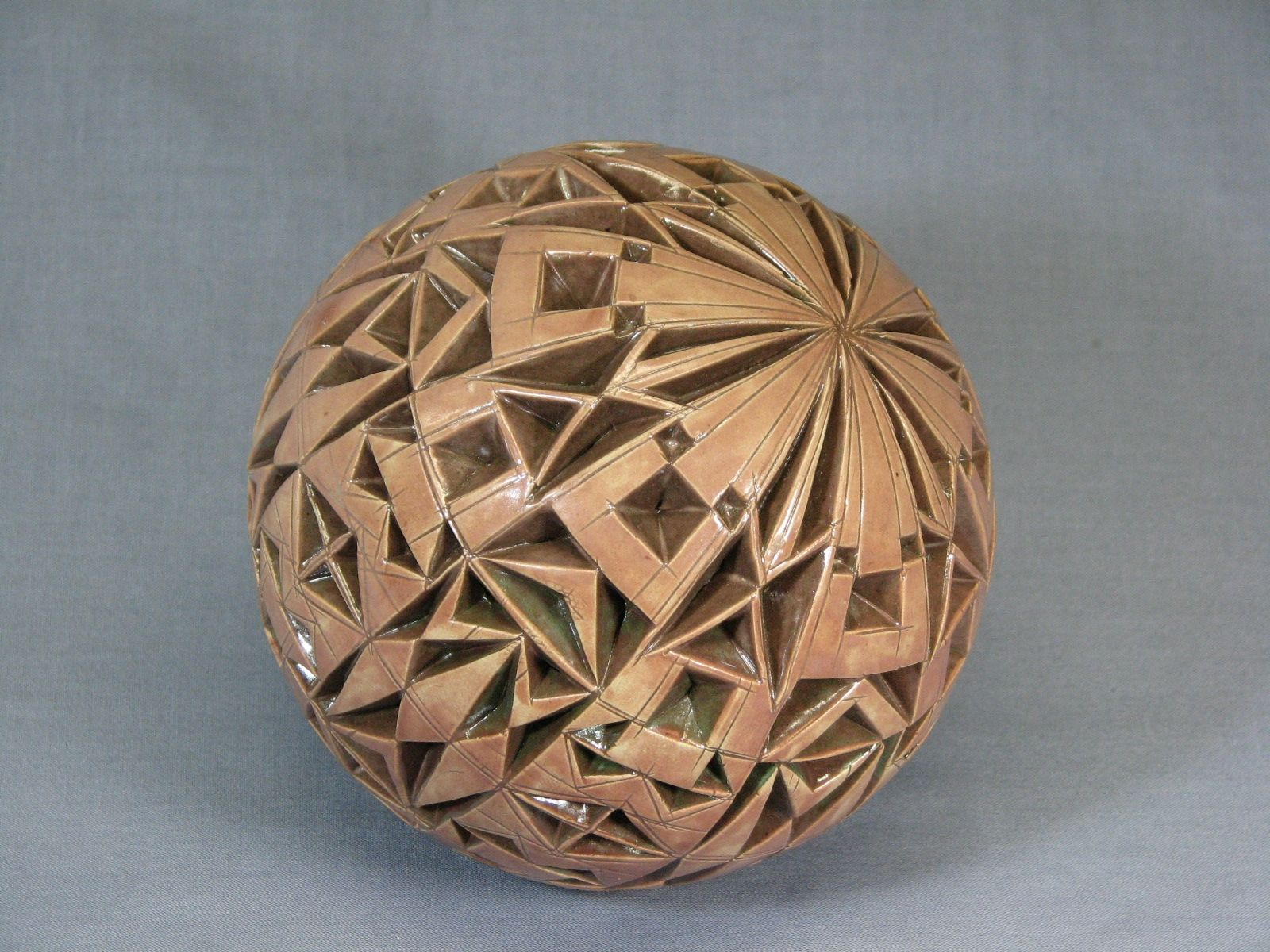 Hand Made Tan Brown Carved Sphere By R Weber Art Studio