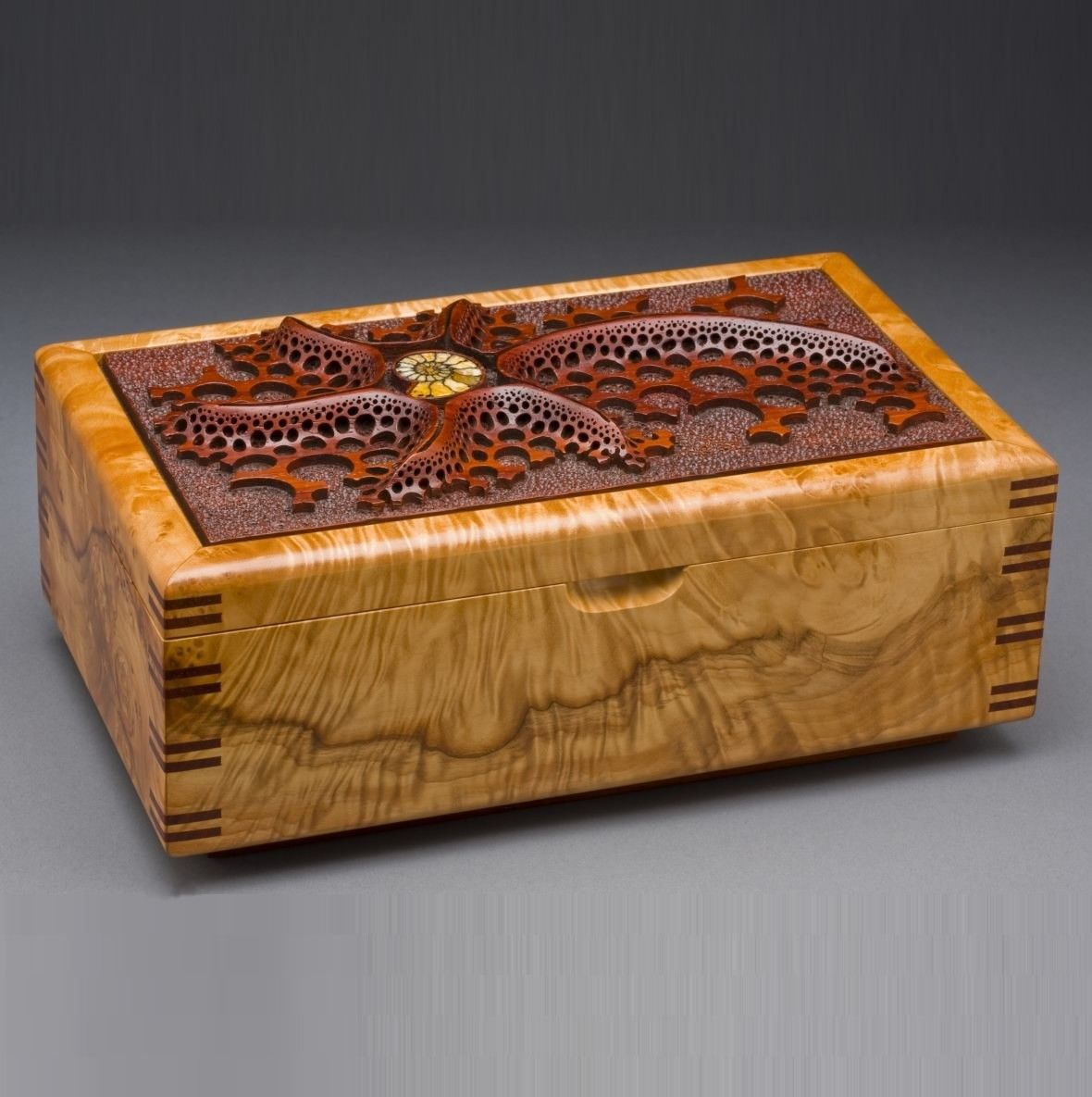 Asian Inspired Bedroom Furniture Hand Made Wood Jewelry Box Quot Ammonite Quot By Mark Doolittle