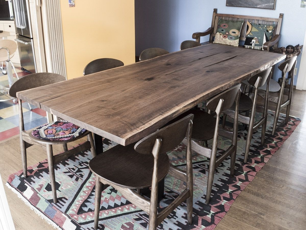 Hand Made Black Walnut Bookmatched Live Edge Slab Dining