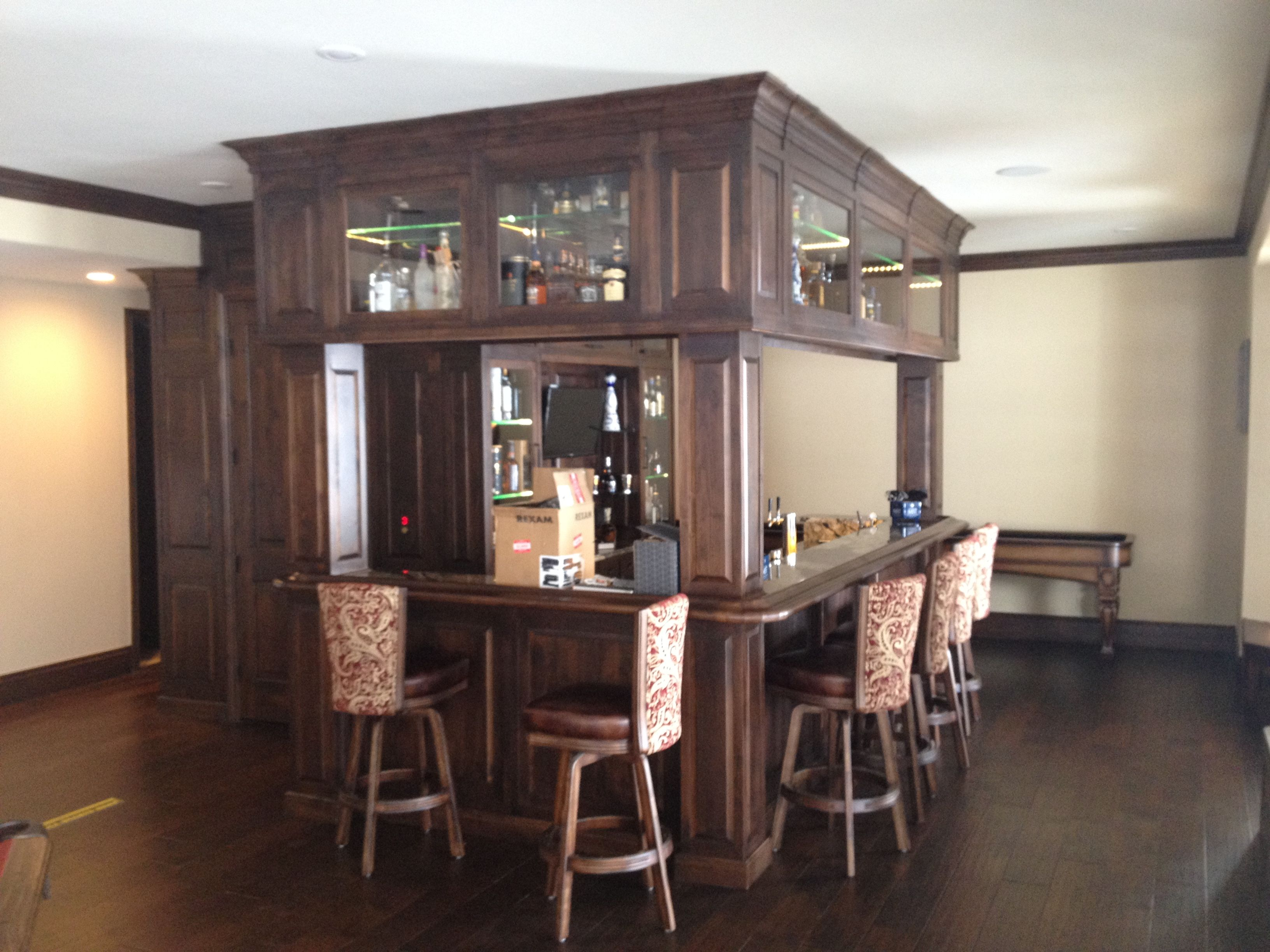 custom made custom basement bar