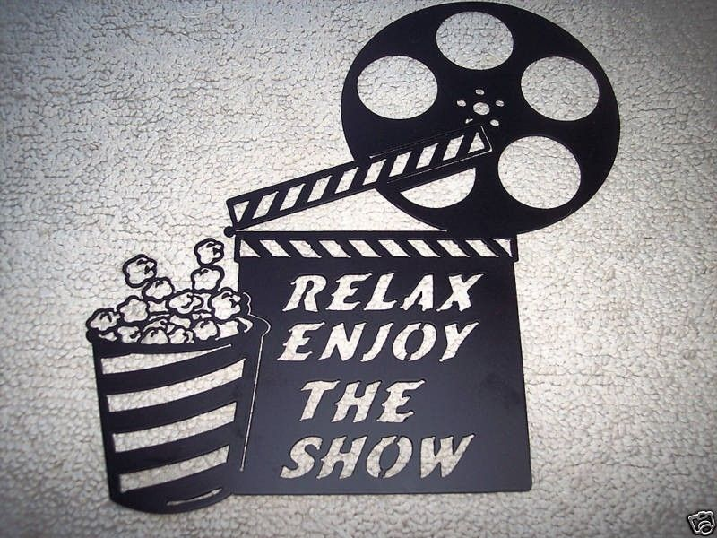 custom made home theater decor clapboard and popcorn relax enjoy the show movie metal wall art. Black Bedroom Furniture Sets. Home Design Ideas
