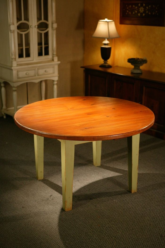hand made round harvest style kitchen dining table