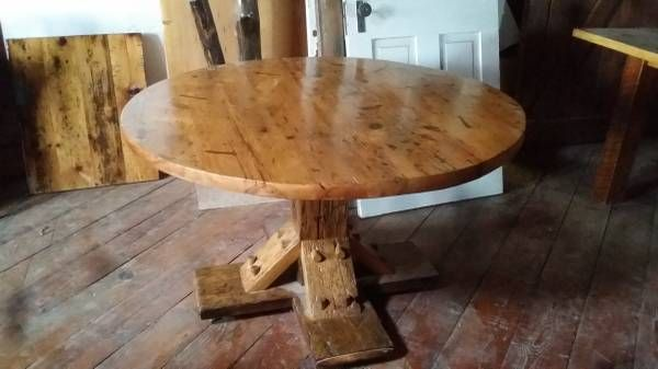 Buy A Hand Crafted Reclaimed Round Barn Wood Dinning Table