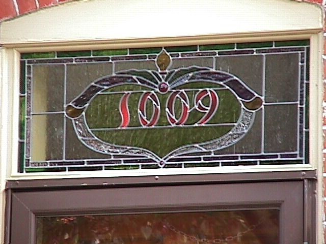 Custom Address Number Transom Stained And Leaded Glass