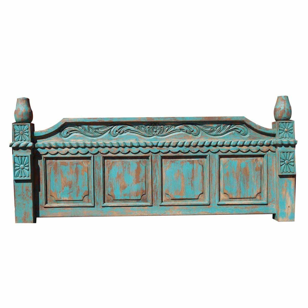 Hand Made Turquoise Rustic Bed With Hand Carved Detail By Foxden Decor