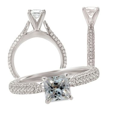 Custom Made *18k White Gold Diamond Pave' Engagement Ring Semi-Mount, Holds Round Or Princess