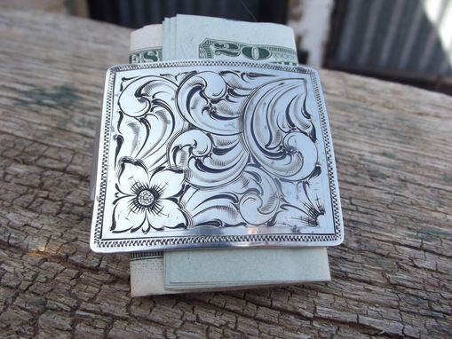 Custom Made Silver Engraved Money Clip