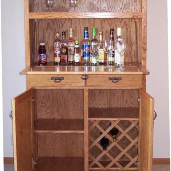 Hand crafted oak liquor cabinet by jay 39 s custom woodwork for Built in drinks cabinet