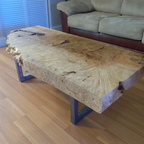 Square Coffee Table Metal Legs: Handmade Live Edge Maple Burl Coffee Table With Square