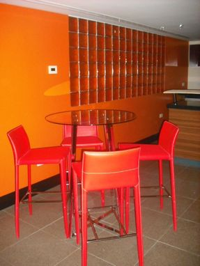 Custom Made Orange Colored Partition Wall With Glass Blocks