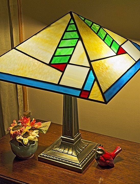 Wright Brothers Stained Glass Lamp : Handmade prairie style lamp by bc studios custommade
