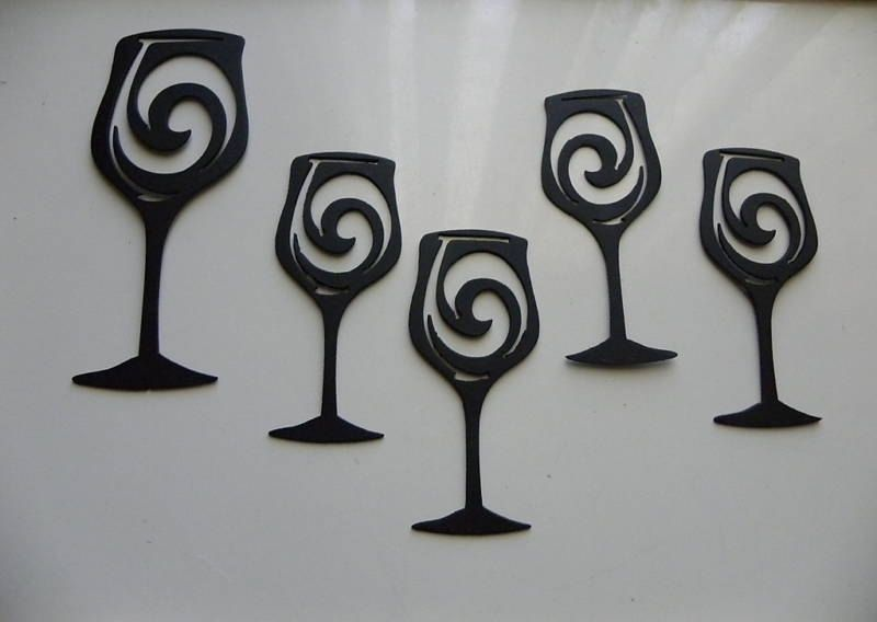 Hand Made Wine Glasses Set Of 5 Metal Wall Art Wall Accent