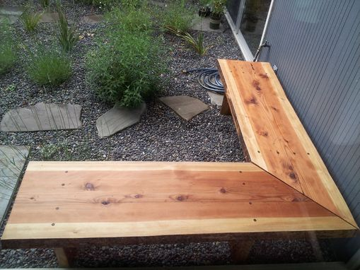 Handmade Outdoor Redwood Slab Corner Benches By Alexis