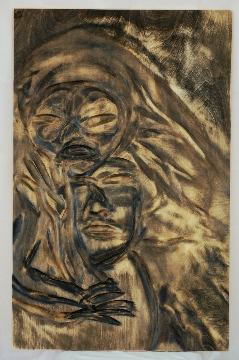 Buy a handmade people wood wall carving low relief made