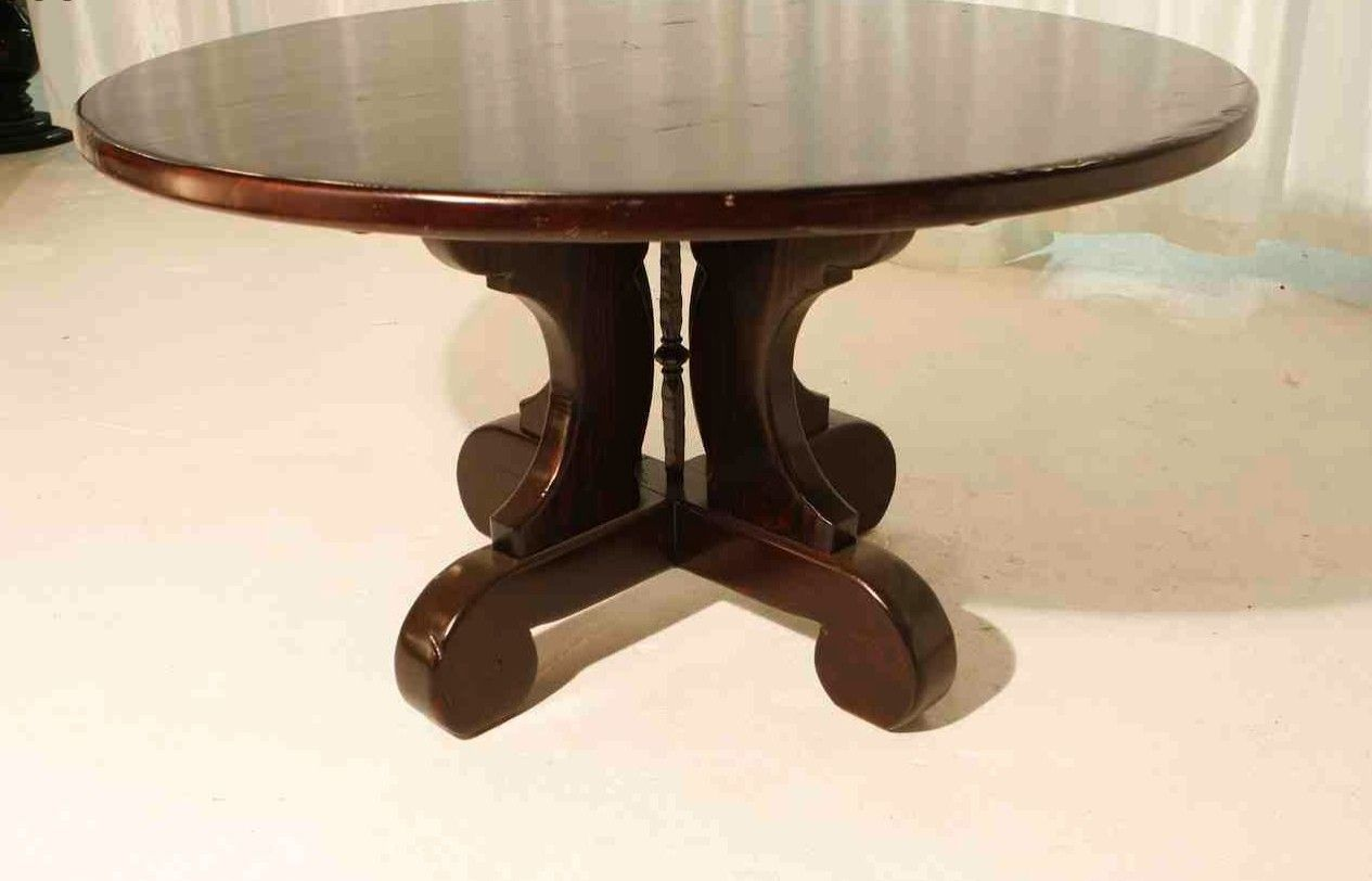 Hand crafted lourdes trestle round dining table built in for Built in dining table