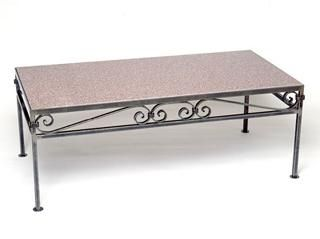 Hand made metal scroll cocktail table by winnipesaukee for Table th no scroll