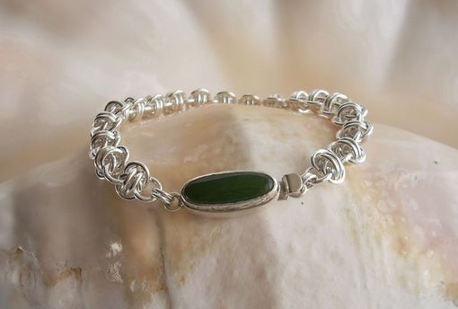 Custom Made Handmade Chainmaille Bracelet: Jade Box Clasp With Argentium Sterling Silver Rings
