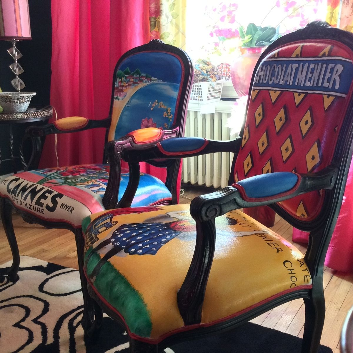 Custom Hand Painted And Upholstered Carved Berger Chairs