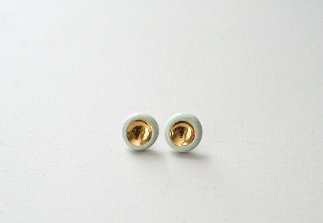 22k Gold Barnacle Porcelain Earrings