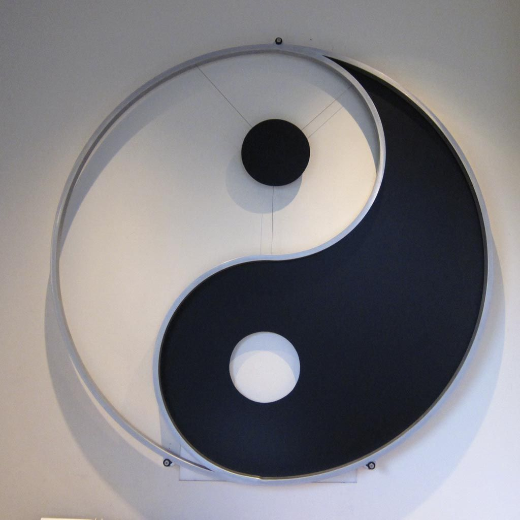 Hand made yin yang metal scupture by glendon good custom for Architecture yin yang