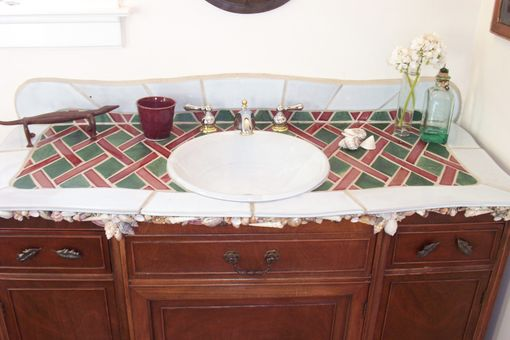 Custom Made Sink With Tile Counter And Backsplash