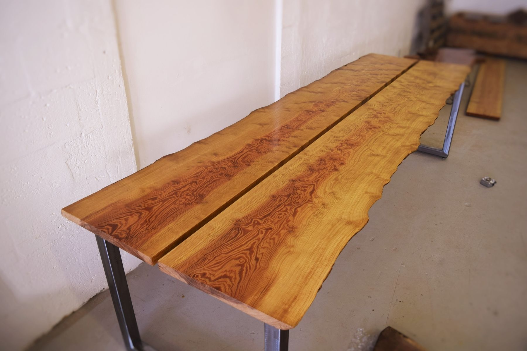 Hand made live edge curly sinker pine dining table by ozma for Finishing live edge wood