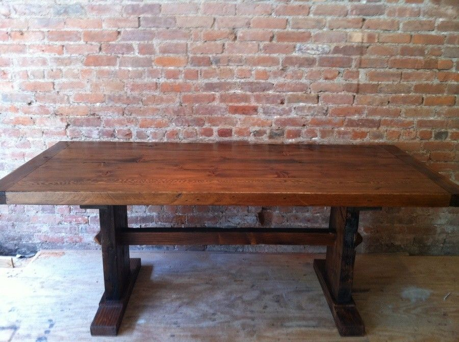 Custom Made Thick Top Reclaimed Wood Trestle Table By Homestead Furniture Company