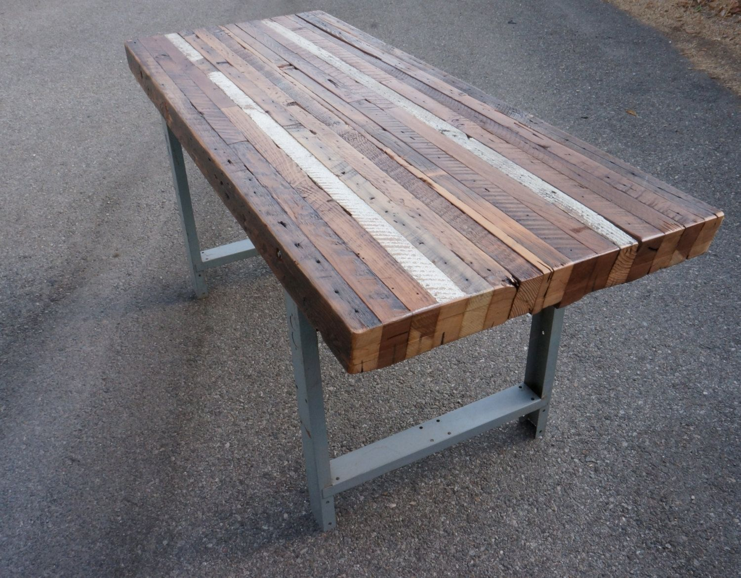 Handmade custom outdoor indoor rustic industrial reclaimed wood dining table coffee table by Rustic wood and metal coffee table