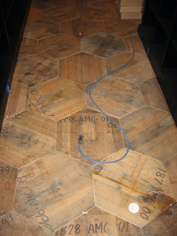 Custom Made Reclaimed Hex Wine Barrel End Flooring By Whit