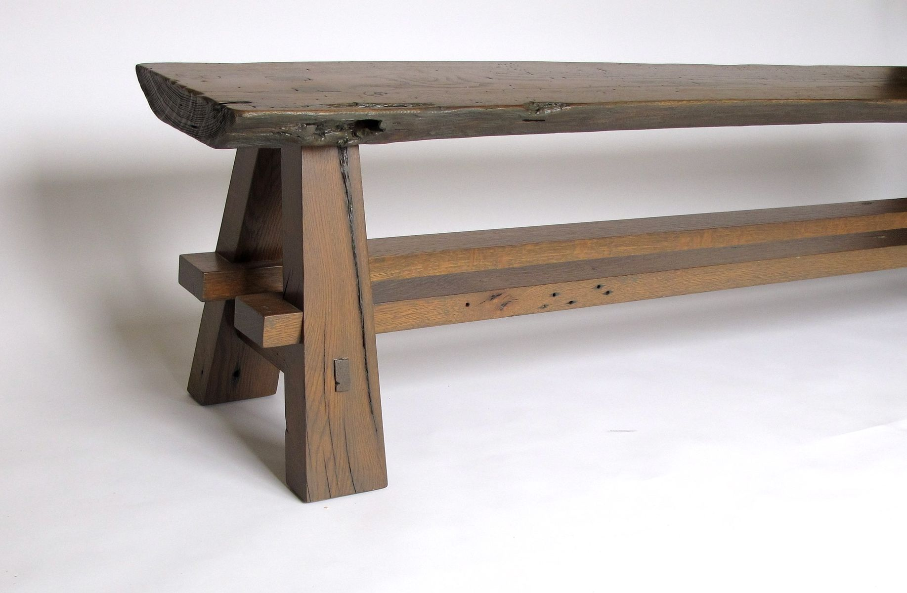 Custom Rustic Bench Made With Reclaimed Barnwood And Oak Slab By Intelligent Design Woodwork