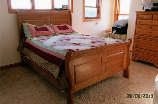Custom Made Sleigh Bed Quarter Sawed Oak Queen Size Or King Size