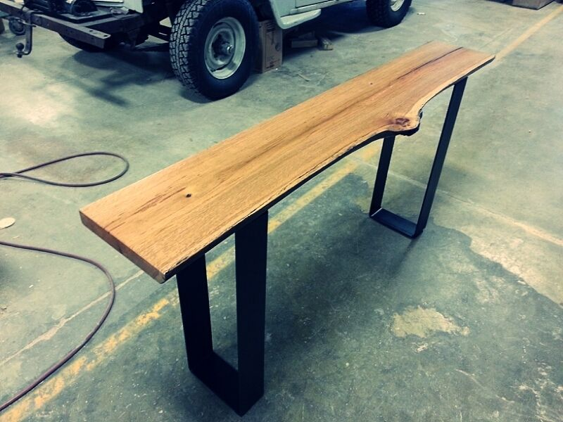 Handmade Modern Live Edge Oak Console Table By Heritage