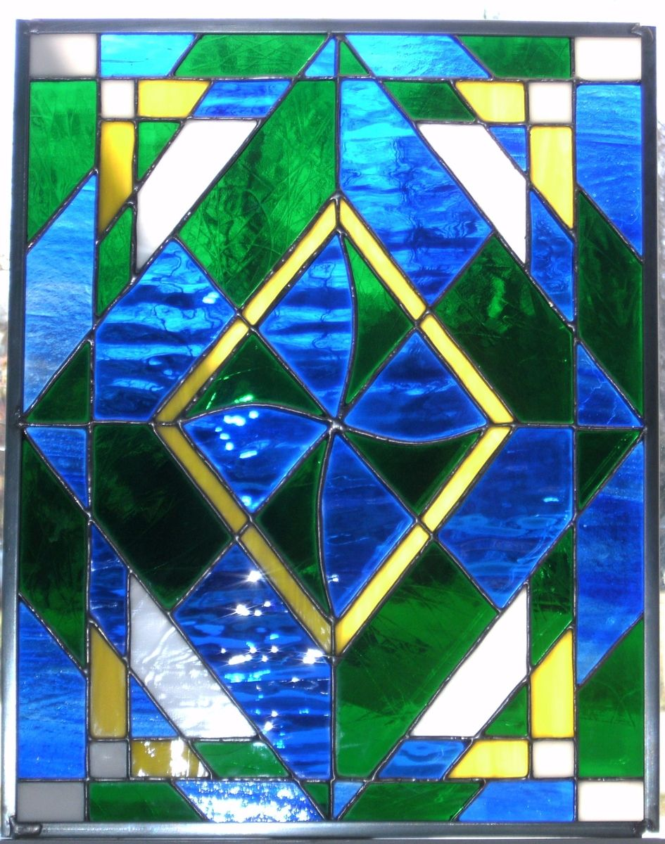 Hand Made u0026quot;Oceans And Valleysu0026quot; - Stained Glass Panel by Ibg Creative Design : CustomMade.com