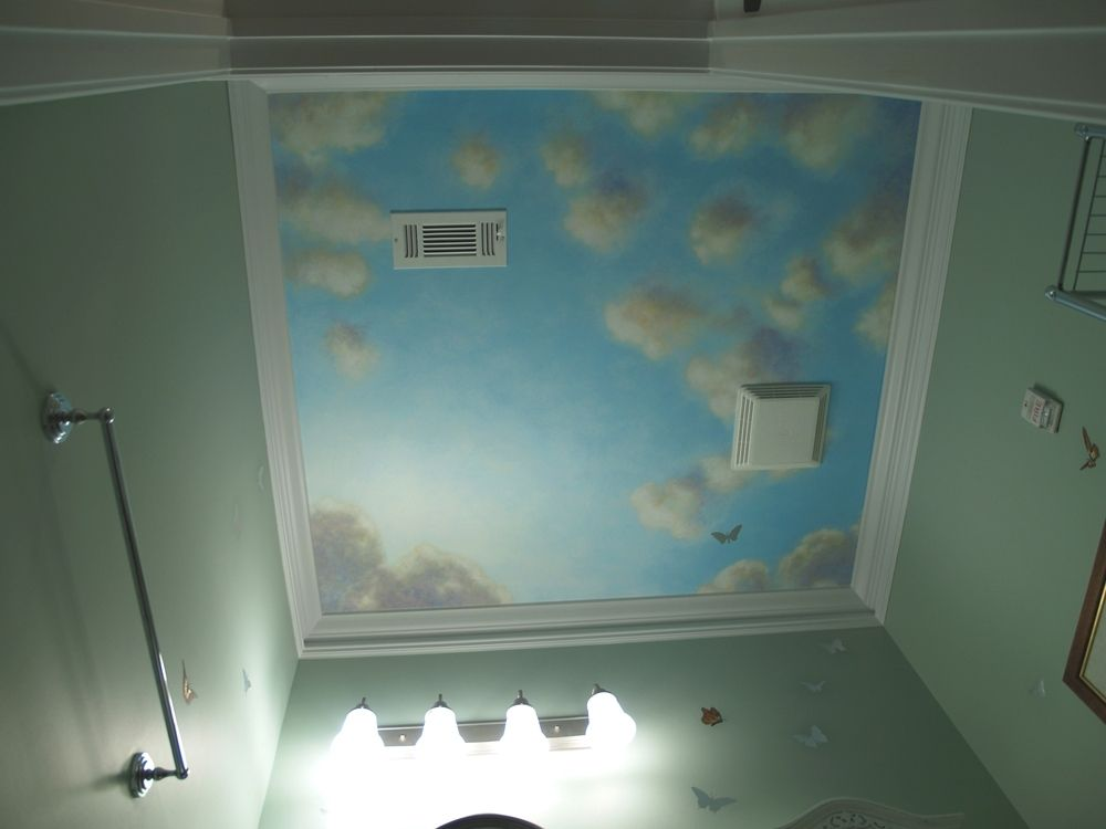 Hand Crafted Blue Sky Mural On Canvas For Powder Room