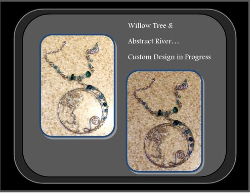 Custom Made Willow Tree On Abstract River, Tree Of Life Jewelry, Willow Tree Necklace, Tree Of Life